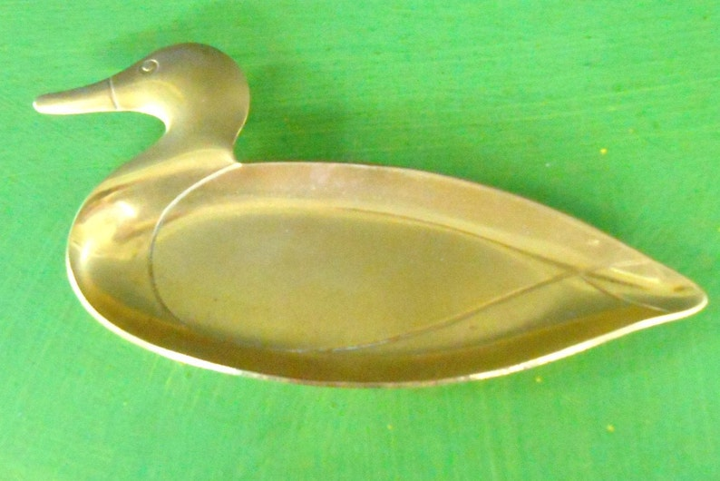 Vintage Brass Duck Trinket Dish,Ring Holder,Change Dish Jewelry Holder