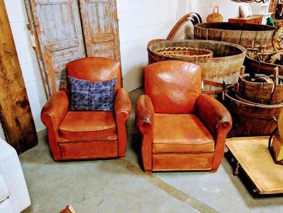 Sensational Leather Club Chairs French Art Deco 1930S Le Mont Saint Michel Frankydiablos Diy Chair Ideas Frankydiabloscom
