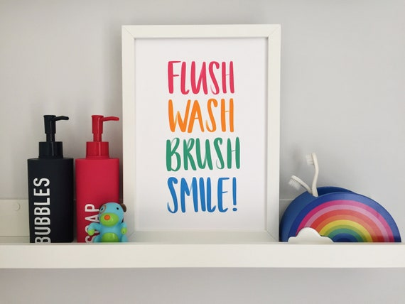 Flush, Wash, Brush, Smile! Kids Bathroom A4 Print
