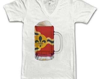 Ladies St. Louis City Flag Beer Mug Tee, Home Tee, City Pride, City Flag, Beer Tee, Beer T-Shirt, Beer Thinkers, Beer Lovers Tee