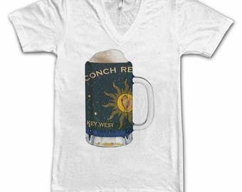 Ladies Key West City Flag Beer Mug Tee, Women's Tee, Beer Tee, City Pride, Beer T-Shirt, Beer Lovers Tee, Beer Thinkers, Beer, Florida