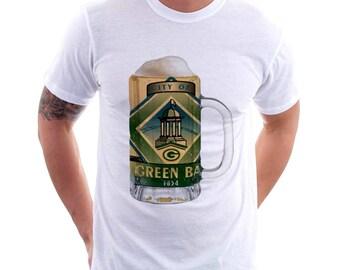 Green Bay, WI City Flag Beer Mug Tee, Unisex, Home Tee, City Pride, City Flag, Beer Tee, Beer T-Shirt, Beer Thinkers, Beer Lovers Tee