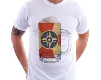 Wichita KS City Flag Beer Mug Tee, Home Tee, City Pride, Beer Tee, Beer T-Shirt, Beer Thinkers, Beer Lovers Tee, Fun Beer Tee, Kansas, Beer