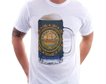 New Hampshire State Flag Beer Mug Tee, Unisex Home State Tee, State Pride, State Flag, Beer Tee, Beer T-Shirt, Beer Thinkers, Beer Lovers T