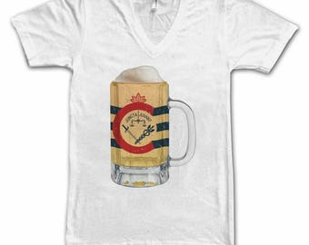 Ladies Cincinnati City Flag Beer Mug Tee, Home Tee, City Pride, City Flag, Beer Tee, Beer T-Shirt, Beer Thinkers, Beer Lovers Tee