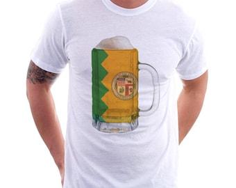 Los Angeles Flag Beer Mug Tee, Unisex, City Pride, City Flag, Home Tee, Beer Tee, Beer T-Shirt, Beer Thinkers, Beer Lovers Tee