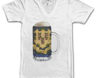 Ladies Connecticut State Flag Beer Mug Tee, Home State Tee, State Pride, State Flag, Beer Tee, Beer T-Shirt, Beer Thinkers, Beer Lovers Tee