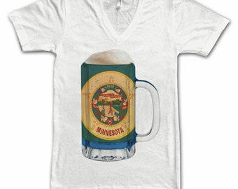 Ladies Minnesota State Flag Beer Mug Tee, Home State Tee, State Pride, State Flag, Beer Tee, Beer T-Shirt, Beer Thinkers, Beer Lovers Tee