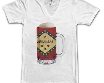 Ladies Arkansas State Flag Beer Mug Tee, Home State Tee, State Pride, State Flag, Beer Tee, Beer T-Shirt, Beer Thinkers, Beer Lovers Tee