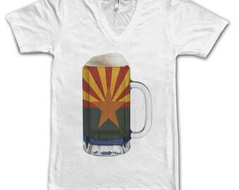 Ladies Arizona State Flag Beer Mug Tee, Home State Tee, State Pride, State Flag, Beer Tee, Beer T-Shirt, Beer Thinkers, Beer Lovers Tee