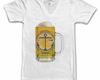 Ladies Anchorage, AK City Flag Beer Mug Tee, Home Tee, City Pride, City Flag, Beer Tee, Beer T-Shirt, Beer Thinkers, Beer Lovers Tee