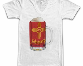 Ladies Albuquerque City Flag Beer Mug Tee, Women's Tee, Beer Tee, City Pride, Beer T-Shirt, Beer Lovers Tee, Beer Thinkers, Beer, New Mexio
