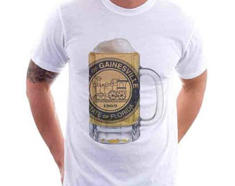 Ladies Gainesville City Flag Beer Mug Tee, Home Tee, City Pride, City Flag, Beer Tee, Beer T-Shirt, Beer Thinkers, Beer Lovers Tee