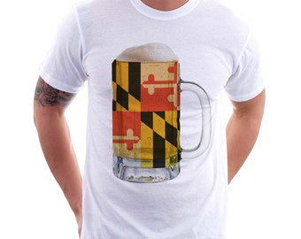 Maryland State Flag Beer Mug Tee, unisex Tee, Home Tee, State Pride, State Flag, Beer Tee, Beer T-Shirt, Beer Thinkers, Beer Lovers Tee