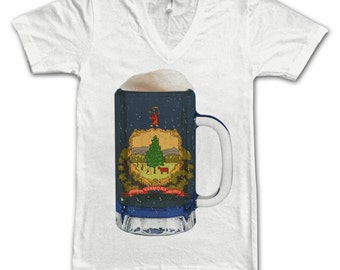 Ladies Vermont State Flag Beer Mug Tee, Home Tee, State Pride, State Flag, Beer Tee, Beer T-Shirt, Beer Thinkers, Beer Lovers Tee, Fun Beer