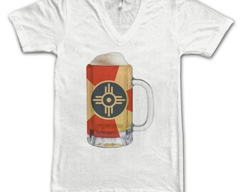 Ladies Wichita, KS City Flag Beer Mug Tee, Home Tee, City Pride, City Flag, Beer Tee, Beer T-Shirt, Beer Thinkers, Beer Lovers Tee