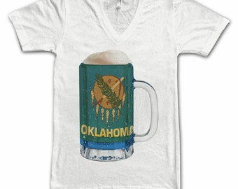 Ladies Oklahoma State Flag Beer Mug Tee, Home Tee, State Pride, State Flag, Beer Tee, Beer T-Shirt, Beer Thinkers, Beer Lovers Tee, Fun Beer