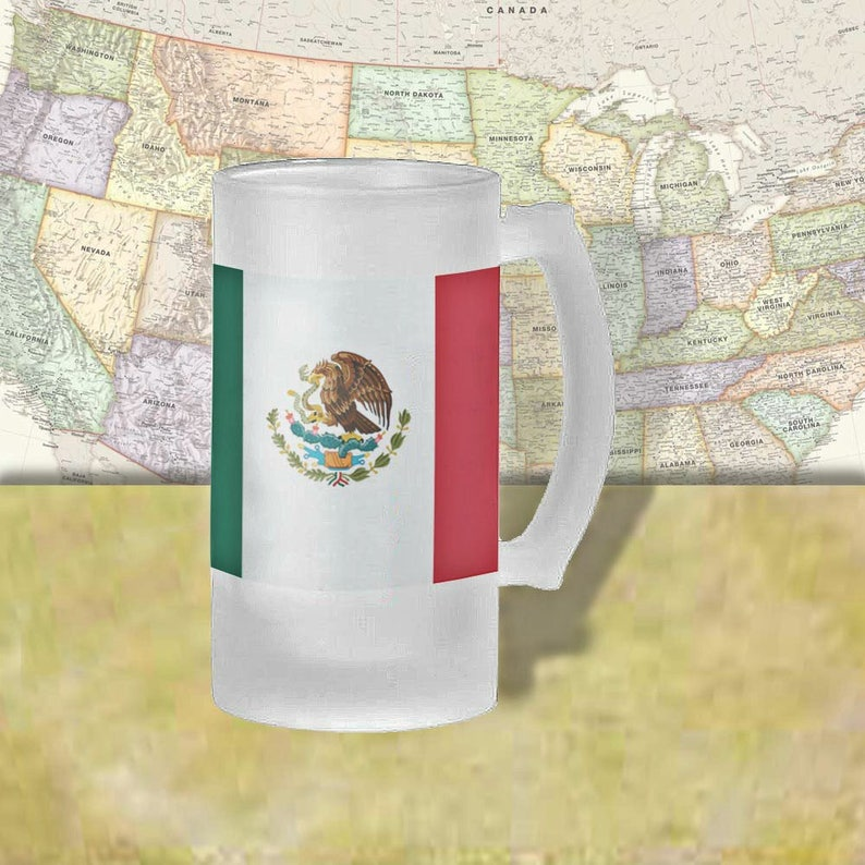 Country Pride Beer Lovers Beer Glass Beer Thinkers Mexico Flag Beer Mug Cold Beer Frosted Mug Beer Stein 16 oz. Country Flag