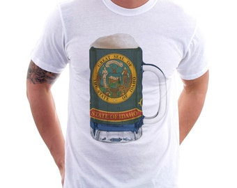 Idaho State Flag Beer Mug Tee, Unisex, Home State Tee, State Pride, State Flag, Beer Tee, Beer T-Shirt, Beer Thinkers, Beer Lovers Tee