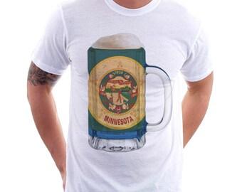 Minnesota State Flag Beer Mug Tee, Unisex, Home State Tee, State Pride, State Flag, Beer Tee, Beer T-Shirt, Beer Thinkers, Beer Lovers Tee