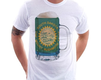 South Dakota State Flag Beer Mug Tee, Unisex, Home Tee, State Pride, State Flag, Beer Tee, Beer T-Shirt, Beer Thinkers, Beer Lovers Tee,