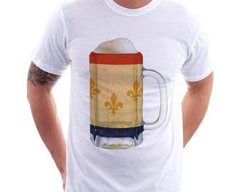 New Orleans City Flag Beer Mug Tee, Home Tee, City Pride, City Flag, Beer Tee, Beer T-Shirt, Beer Thinkers, Beer Lovers Tee, Fun Beer Tee