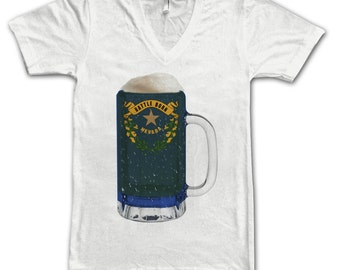 Ladies Nevada State Flag Beer Mug Tee, Home State Tee, State Pride, State Flag, Beer Tee, Beer T-Shirt, Beer Thinkers, Beer Lovers Tee