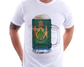 Maine State Flag Beer Mug Tee, Unisex, Home State Tee, State Pride, State Flag, Beer Tee, Beer T-Shirt, Beer Thinkers, Beer Lovers Tee