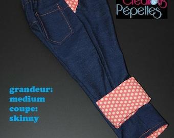 Scalable jeans size medium, slim, cream orange dots