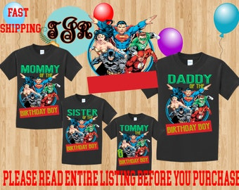 JUSTICE LEAGUE Boy Birthday Family Black Theme Shirts Long Sleeve Short Tank Tops Toddler BATMAN Wonder Woman Superman The Flash