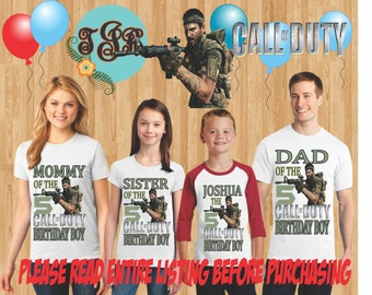 CALL OF DUTY Boy family Shirts design Raglan Long Sleeve Short Sleeve Tank tops Infant/Toddler Sizes Ladies Cut Tshirt onesie
