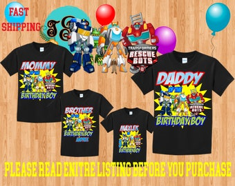 TRANSFORMERS RESCUE BOTS Boy birthday Family Black Theme Shirts Vacation Long Sleeve Short Sleeve Tank tops Toddler