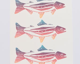 Block Print Poster, Nature Poster, Fish Trout Print, Taxonomy Art, Playroom Print, Nursery Art, Outdoorsy Art, Rainbow Wall Art