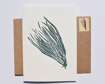 Pine Needle Card, Simple Christmas Card, Minimalist Holiday Card, Tree Block Print Card, Nondenominational Card, Card for Dad
