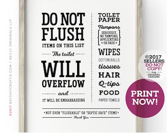 Flush The F**king Toilet Inappropriate Funny Bathroom Sign Home Wall Decor Print