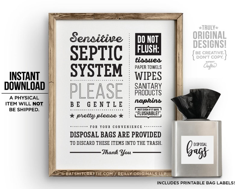 image relating to Bathroom Sign Printable titled Toilet Signal PRINTABLE Septic Procedure Delicate Plumbing Do not Flush Simply Rest room Paper TP Tampons Female Substance decor Lovable sanitary artwork