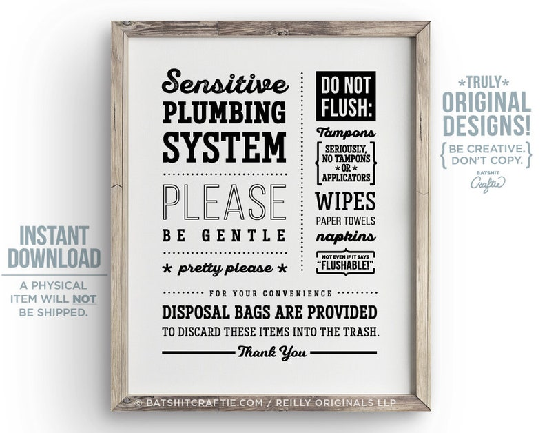 Sensitive Plumbing PRINTABLE Bathroom Sign Septic System Flush Only Pee Poo  Toilet No Tampons Funny Home decor Cute sanitary feminine wipes
