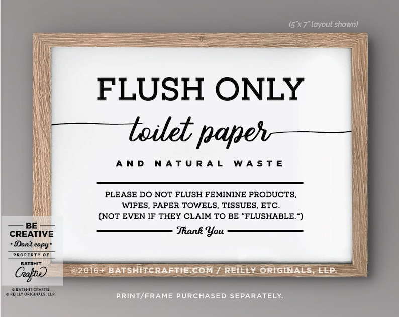 Septic System Sign Printable Bathroom Sensitive Plumbing Flush Etsy