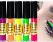 NEON LIQUID EYELINERS - Waterproof, Smudgeproof. Pink, Yellow, Orange, Green, Blue, Purple, Eyeliners, Neon Eye liner, Black light reactive