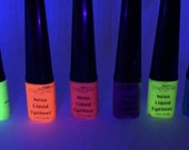 NEON LIQUID EYELINERS, Pink, Yellow, Blue, Orange, Green, Blue, Neon Eye liners, Pigment, Glow In The Dark, Makeup,Pigments liners,Eyeshadow