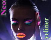 NEON LIQUID EYELINERS, Pink, Yellow, Blue, Orange, Green, Blue, Neon Eye liners, Pigment, Glow In The Dark, Makeup,Pigments liners,Eyeshadow