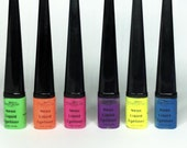 NEON LIQUID EYELINERS - Pink, Yellow, Orange, Green, Blue, Purple, Eyeliners, Neon Eye liner, Neon Pigments, Neon makeup, Glow in the dark