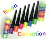 NEON EYELINERS and PIGMENTS Collection, Neon eyeliners, neon pigments, neon eyeshadows, loose eyeshadows, glow in the dark, neon liquid