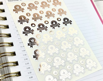 Adulting Stickers, Achievement Stickers, Foil Planner Stickers, Gold Foil, 1 Sheet of 28 stickers