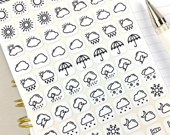 Weather Stickers, Planner Stickers, Bullet Journal Stickers, Stickers, Black and White, Icon Size, Sticker Sheet, 70 Stickers