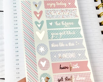 Foiled Planner Stickers, Motivation Stickers, Foiled Stickers, Pretty Stickers, Rose Gold Stickers