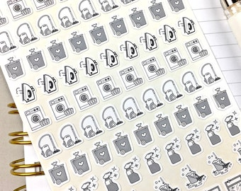 Laundry Stickers, Bin Day Reminders, Planner Stickers, Bullet Journal Stickers, Black and White, Icon Size, 85 Stickers