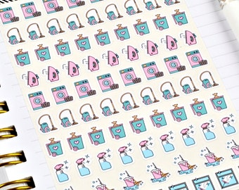 Chore Stickers, Mini Stickers, Cleaning Stickers, Laundry Stickers, Planner Stickers, Bullet Journal Stickers, Sheet of 85 Stickers