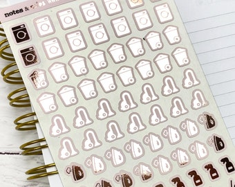 Foiled Cleaning Icons, Laundry Stickers, Cleaning Stickers For Planners, Blush and Foil Stickers