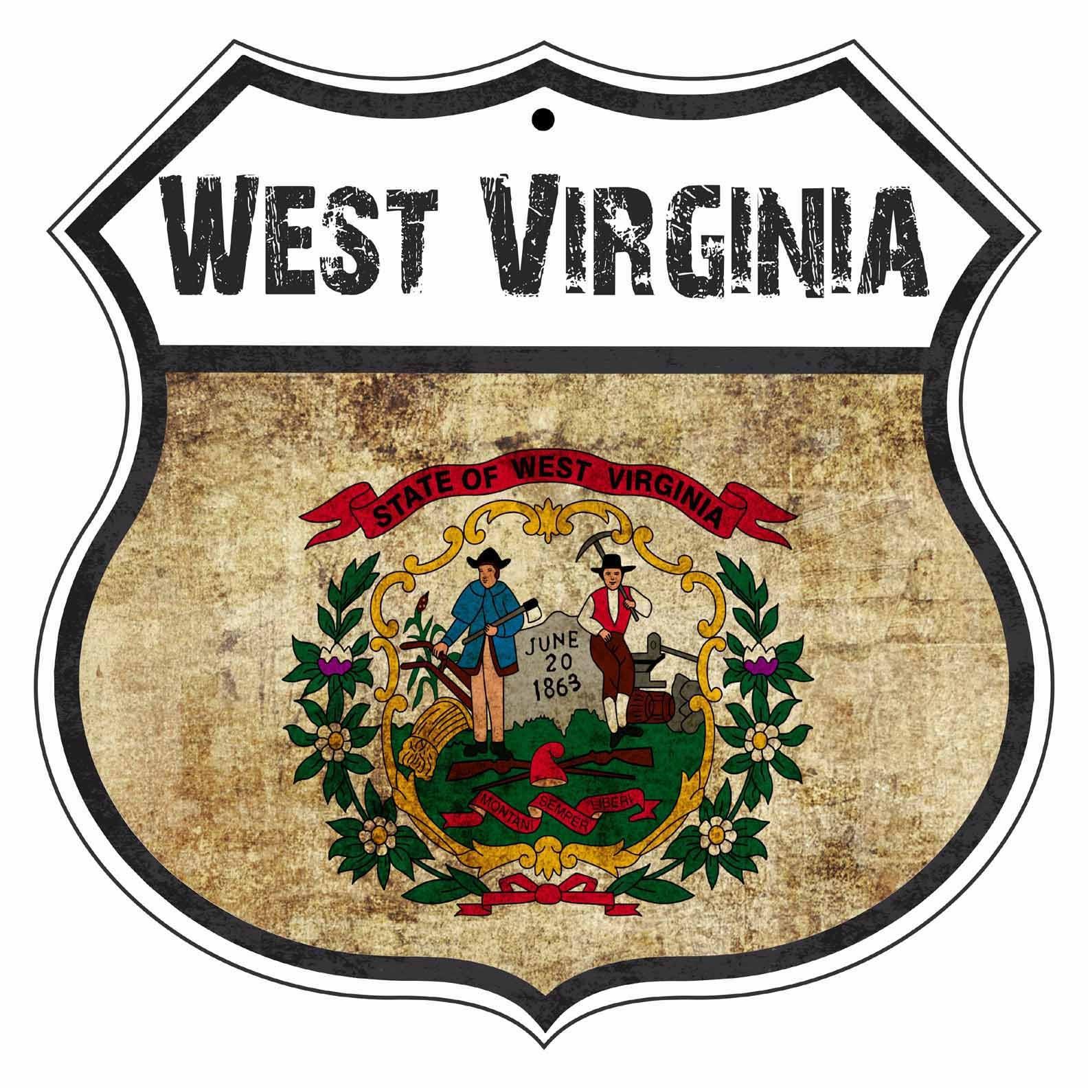 West Virginia State Vintage Flag Novelty Highway Shield Metal Etsy